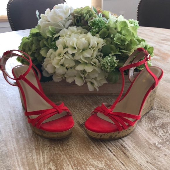 0a4fae28e2 Jaclyn Smith Shoes | Bright Cherry Red Strappy Wedges | Poshmark
